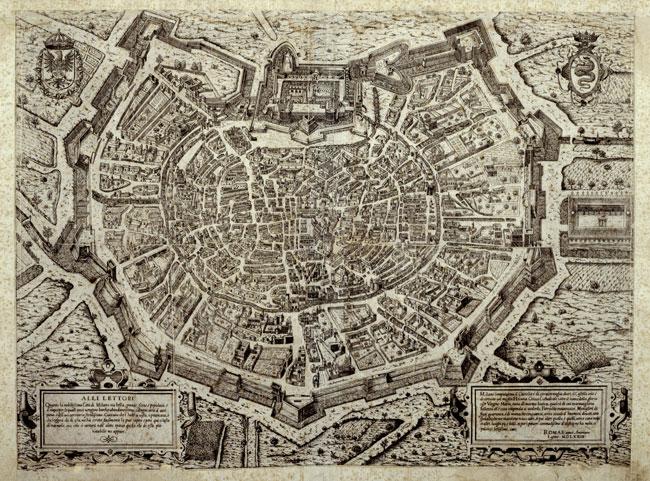 """Franz Hogenberg (incisore), """"Mediolanum"""", 1572, acquaforte"""