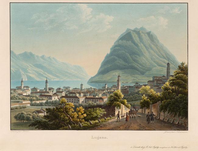 "Salomon Corrodi, ""Lugano"", 1829-1835, acquatinta, 28 x 37 cm"