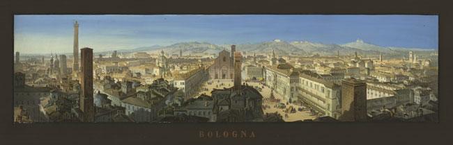 """J. Mazzola (disegnatore), Louis Cherbuin (incisore), F. Artaria & fils (editore), """"Bologna"""", circa 1855"""